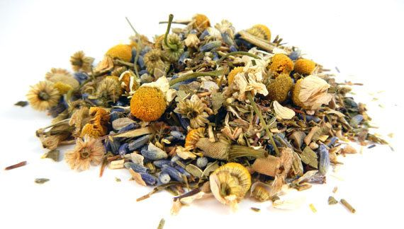 "Effective on chronic insomnia, ""Verrry Sleeepy"" loose leaf tea is a powerful sleep aid containing the following five organic herbs: green African rooibos, chamomile, lavender, passionflower, and valerian root; each known for their relaxation and sleep inducing properties. One cup per day, see site for full description. 