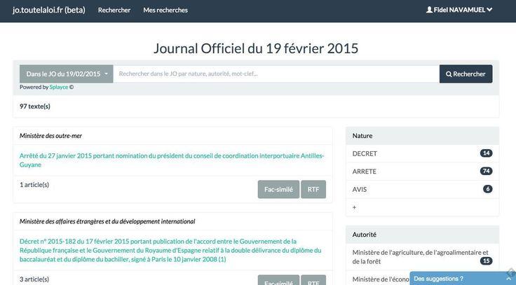 JoToutelaloi est un petit service pratique pour installer facilement une veille sur le contenu quotidien du Journal Officiel