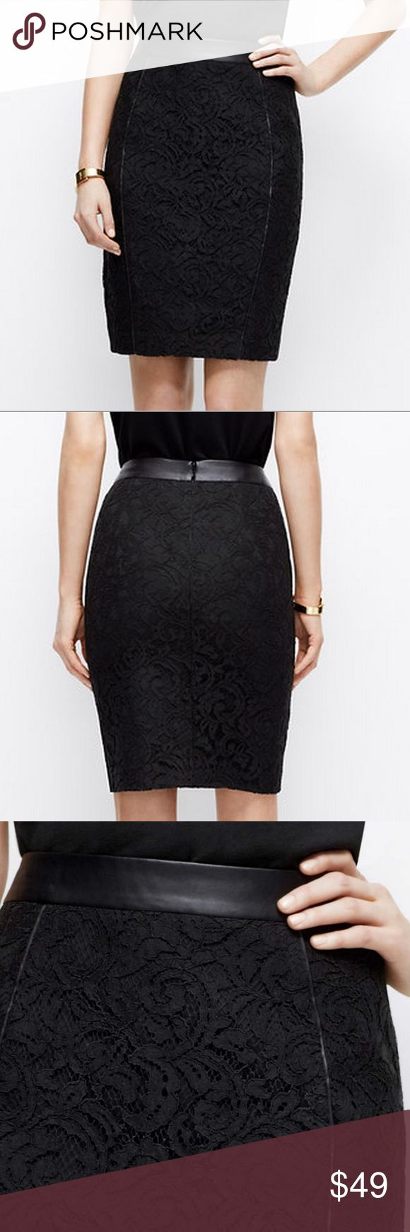 Black Leather and Lace Pencil Skirt Black Leather and Lace Pencil Skirt - Smooth and slimming black pencil skirt with stretch, lace overlay and leather trim details - New and rarely worn  - Size 4 Skirts Pencil