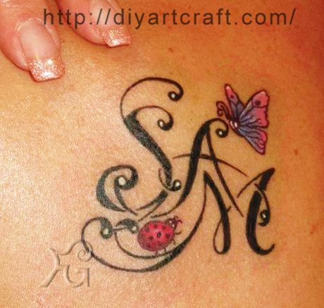 Ladybug + butterfly + Name tattoo. Think I would add a turtle and put Mimi.