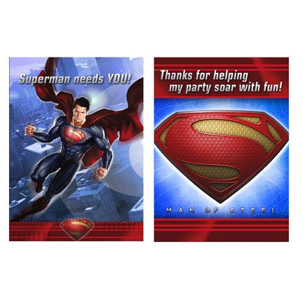 Superman Invitation and Thank You Card (includes 8 pcs of invites and 8 pcs of thank you cards in a pack)