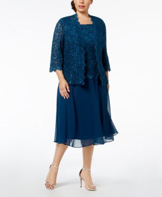 cf72eeb35b6 Plus-Size Lace Sequin-Embellished Dress