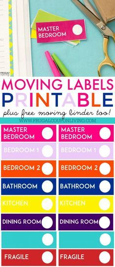 FREE Moving Binder Printable with Free Moving Box Labels on Frugal Coupon Living. Take a look at our top Moving Hacks and Tips!