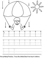 Pre-printing practice worksheet.  Line and shape tracing to help with writing coordination.