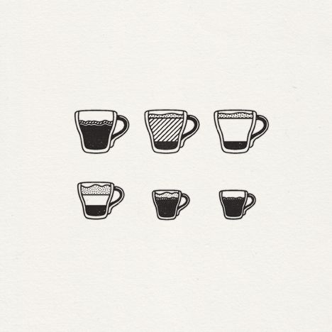 espresso beverage icon set