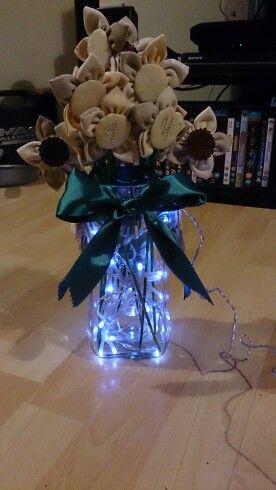 Handmade birthday present for friend,  fabric flowers