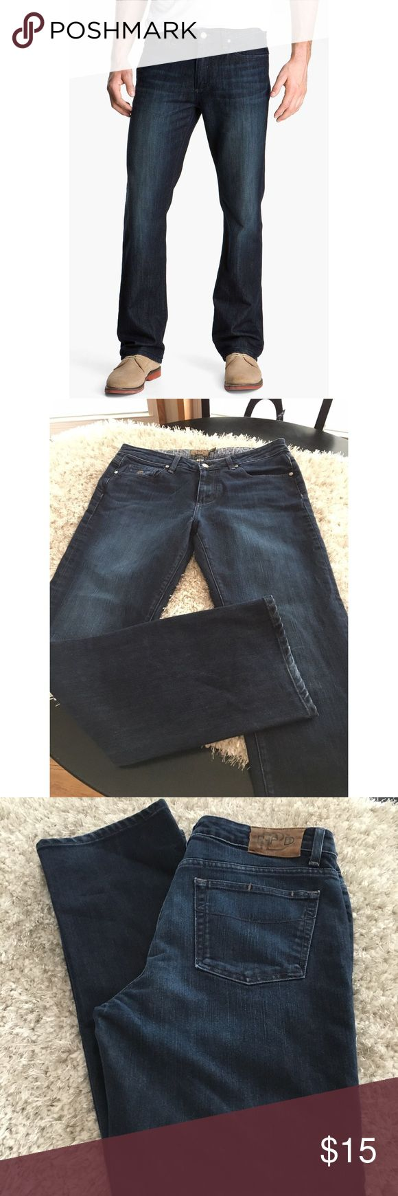 PPD Paige Premium Denim Dohney Straight Jeans Men's jeans.  PPD- Paige Premium Denim.  Dohney Straight style.  Dark blue rinse with slight designer fading.  Size 34x32.  Very light minimal fading at hemline.  Otherwise good condition.  Important:   All items are freshly laundered as applicable prior to shipping (new items and shoes excluded).  Not all my items are from pet/smoke free homes.  Price is reduced to reflect this!   Thank you for looking! PAIGE Jeans Straight
