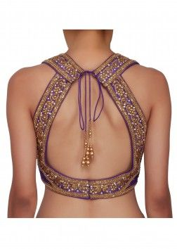 Purple blouse in raw silk embellished in zardosi only on Kalki
