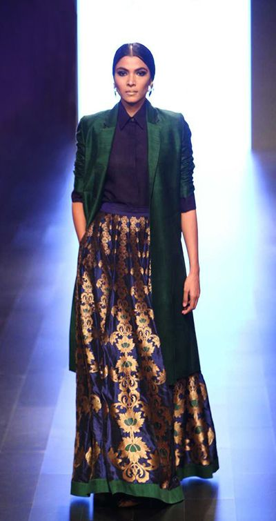 payalkhandwala - AW/2016 - Silk Shirt, Silk Jacket and Silk Brocade Lehenga