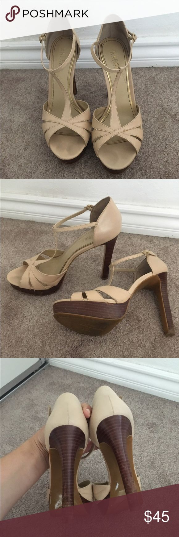 Lauren Ralph Lauren nude T-strap heels These nude heels are beautiful and go with a large range of outfits. They have been worn a few time and have developed some scratches on the fake wood parts but they are still amazing shoes that last a lifetime. Lauren Ralph Lauren Shoes Heels
