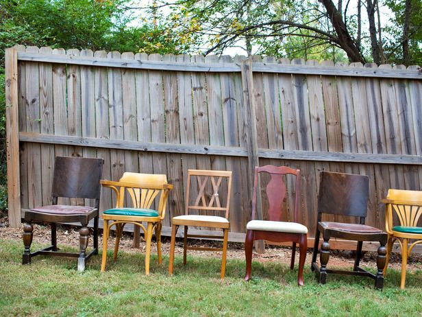 Paint Eclectic Chairs for a Cohesive Look -- Update an eclectic mix of chairs by painting them a single color and recovering the seats to create a unified look.