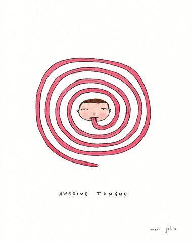 Marc Johns - awesome tongue - Original Drawing