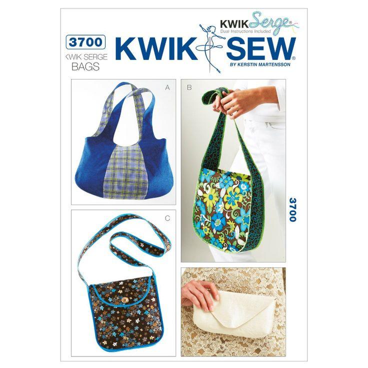 Amazon.com: Kwik Sew K3700 Kwik Serge Bags Sewing Pattern, No Size: Arts, Crafts & Sewing