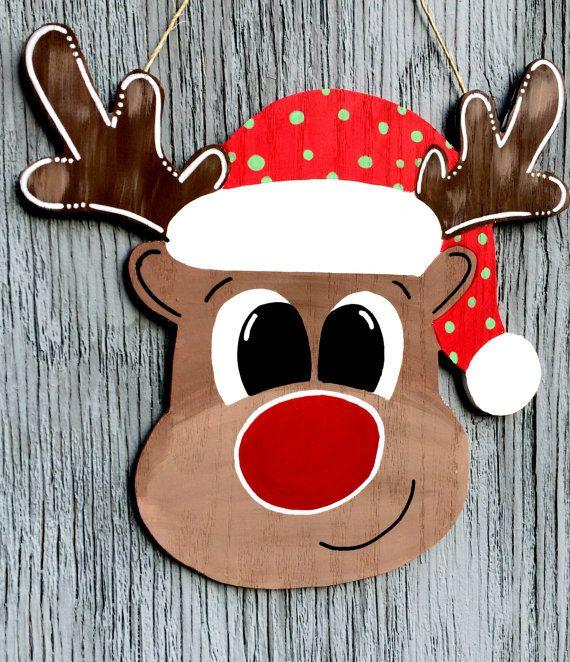 Kerst deur Hanger rendieren deur Hanger van LBWoodenSigns op Etsy