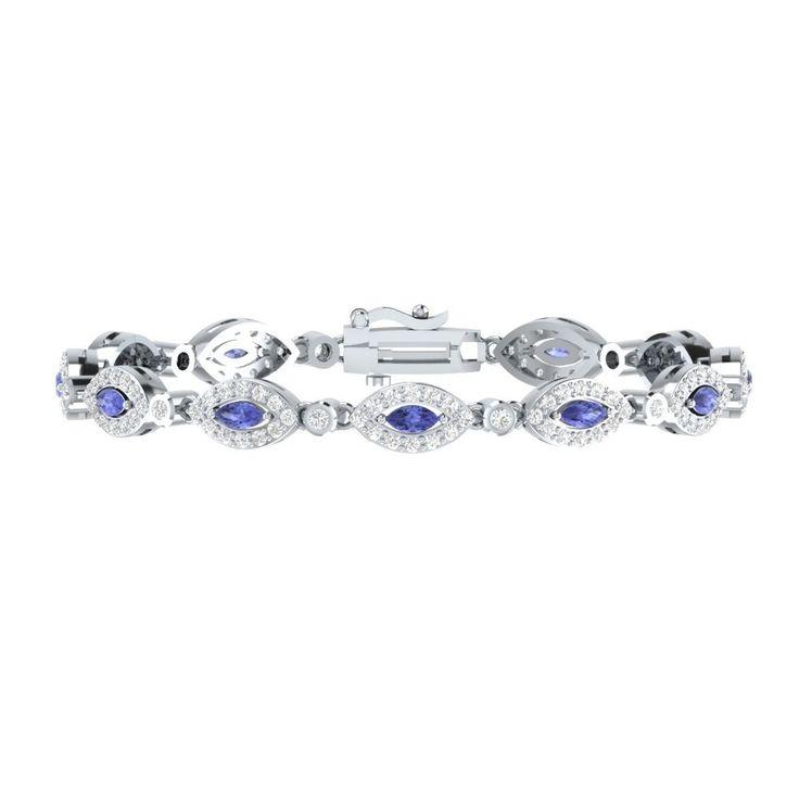 "4.10 Carat Blue Tanzanite W/ White Sapphire Sterling Silver Tennis Bracelet 7"" #braceletrealgold #Tennis"