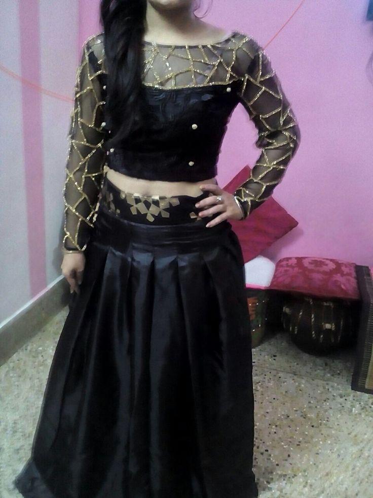 Lehenga choli, Indowestern, fusion, Indian wear, net top, crop top, embroidery, Indian designer, Punjabi, custom order, skirt, sheer