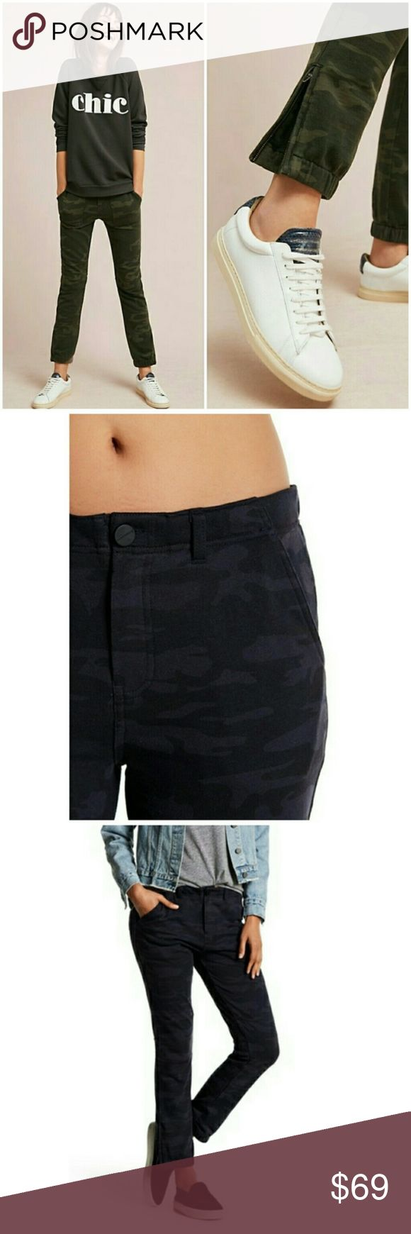 """Anthropologie Sanctuary camo joggers in Navy Super soft/comfy, with a slight low rise, these navy camo joggers go with everything! Skinny joggers, they hug your shape in a flattering way and feel like pajamas! Sexy AND comfortable.You will love!!    - Cotton, poly, elastane blend - Front patch pockets - Front zip and button  - Ankle zip details   - Machine wash  - Imported    """"Contemporary yet timeless, Sanctuary embodies carefree California style and edgy East Coast fashion equally""""…"""