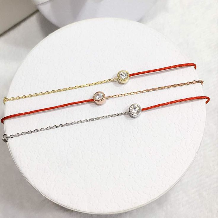 Everyday Delicate Redline Bracelet with Round Silver Charm | Slim and Dainty Bridesmaid 925 Sterling-Silver-Jewelry Gift for Her
