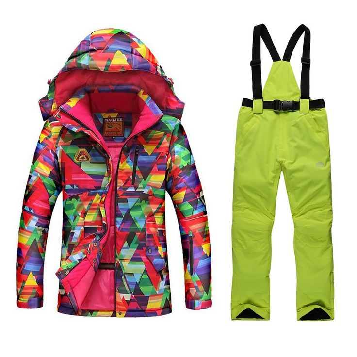 GSOU SNOW New Women Winter Warm Windproof Waterproof Breathable Ski Suit Jacket(colorful cloths with Xlarge Green pants)