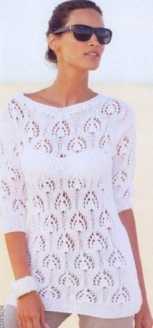 """Пуловер Павлинье перо  Белоснежный пуловер с узором """"павлинье перо"""" связан спицами. Пуловер связан из пряжи 100% хлопок. Описание приведено для следующих размеров: 36/38, 40/42, 44/46 и 48/50. Для вязания пуловера вам понадобятся прямые спицы №3,5 и №4,5. Пуловер имеет удлиненный силует и рукав длиной до локтя. Плотность вязания образца 10 на 10 сантиметров составляет 15 петель на 24 ряда. Фантазийный узор вяжется по схеме. В четных рядах петли и накиды вяжутся изнаночными петлями. Как…"""