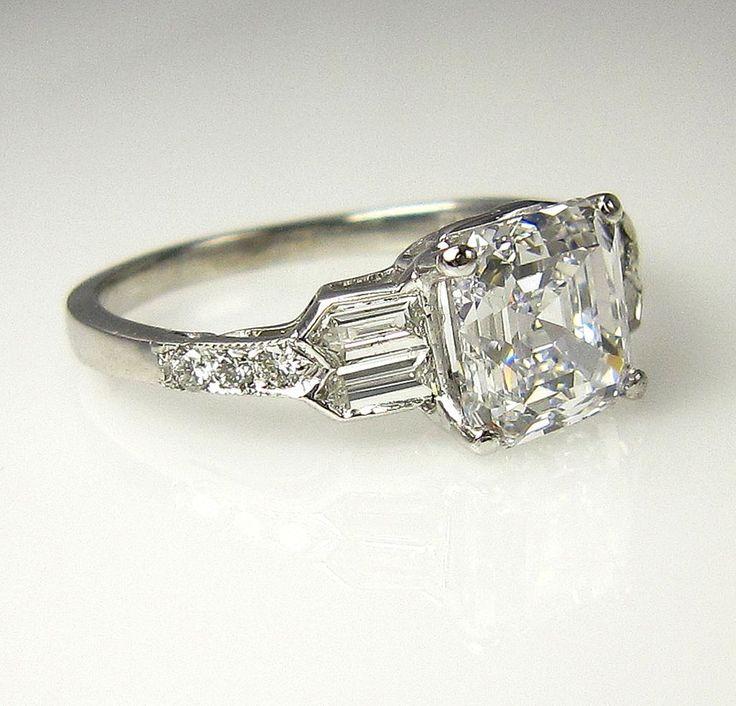 gia art deco 253ct antique vintage asscher cut diamond engagement ring - Art Deco Wedding Rings