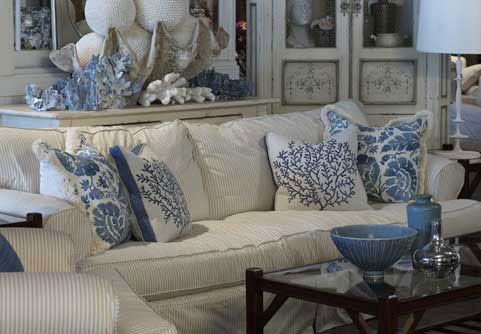 Blue & White Living Room with coral accents