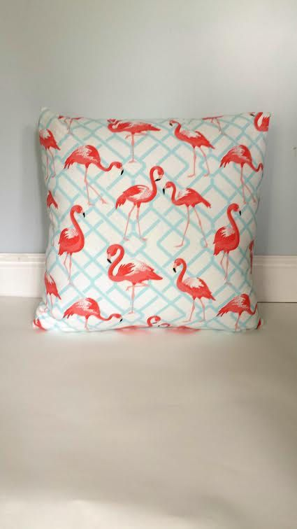 Pink Flamingo Pillow Cover Coral Flamingo Pillow by AggieRay