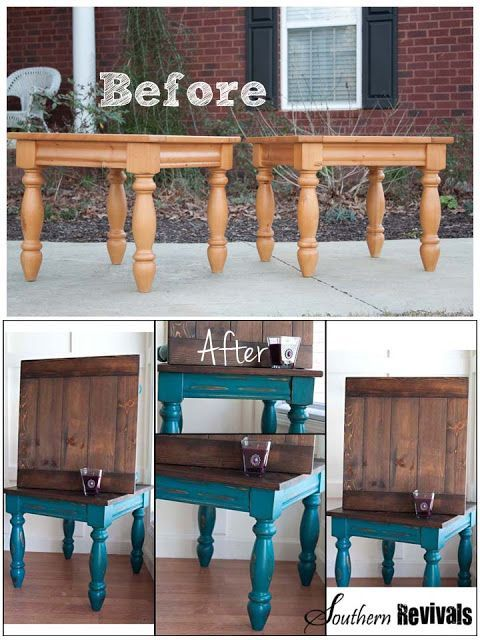 (Read comments for stain and colors)  will use for some furniture I already have!!!   Southern Revivals: The Teal Twins - An Endtables Revival. Turquoise and stained wood top furniture makeover color is gypsy teal by valspar