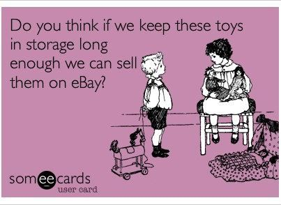self #storage is a great place to keep kids toys organized for future generations or future sales.