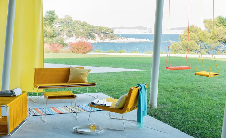 Pfister Sofa, Bench and Armchair Mex, Swing Set, Outdoor Ideas, Garden, Terrace, Breathtaking Vista, Beautiful Garden, Flowers, Sea View, Furnishing and Decoration Ideas