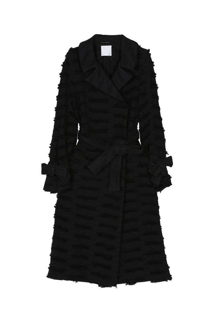 <p>Black Italian cutwork cotton trench coat with contrast reverse fabric collar and belt details, this ...