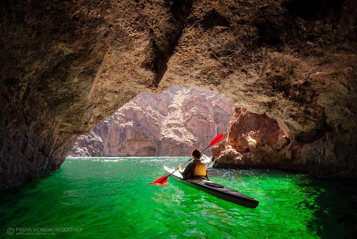 Emerald Cave in the Colorado River, Lake Mead Rec Area  |   Kayak in Emerald Cave by porbital.deviantart.com
