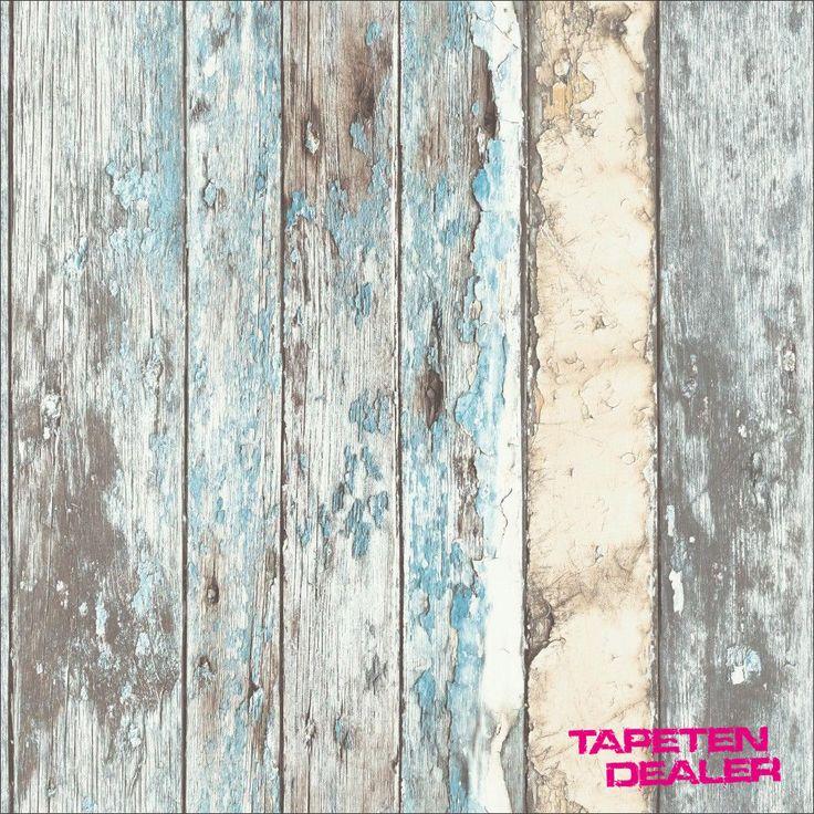 Tapete GranDeco Exposed PE-10-01-2 / Holzoptik Shabby Chic Blau / EUR 2,62/qm
