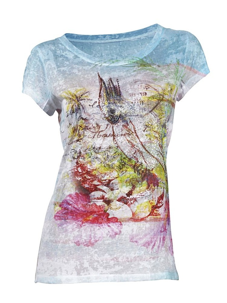 #HeineShoppingliste Shirt mit farbenfrohem Druck und Ziersteinchen