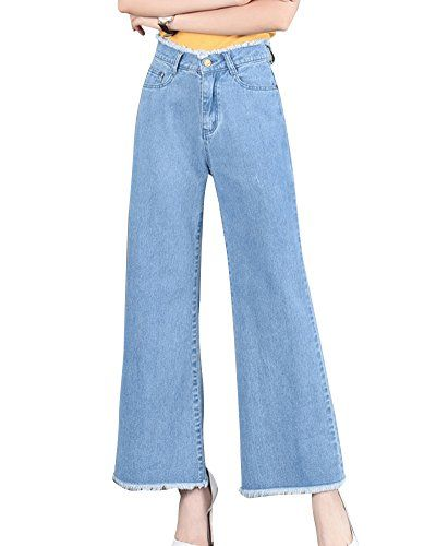 e3321e2a120 Femmes Jambe Large Cropped Pantalon Jeans Taille Haute Élastique Bleu Clair  M