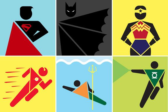 Justice League: Public Sign Style, original artist unknown. Attention, public works departments! Could you put some of these on signposts around town please? There are so many rooftops that would benefit from a Batman sign, to say nothing of lifeguard beach stations that could use some special Aquaman action. :D