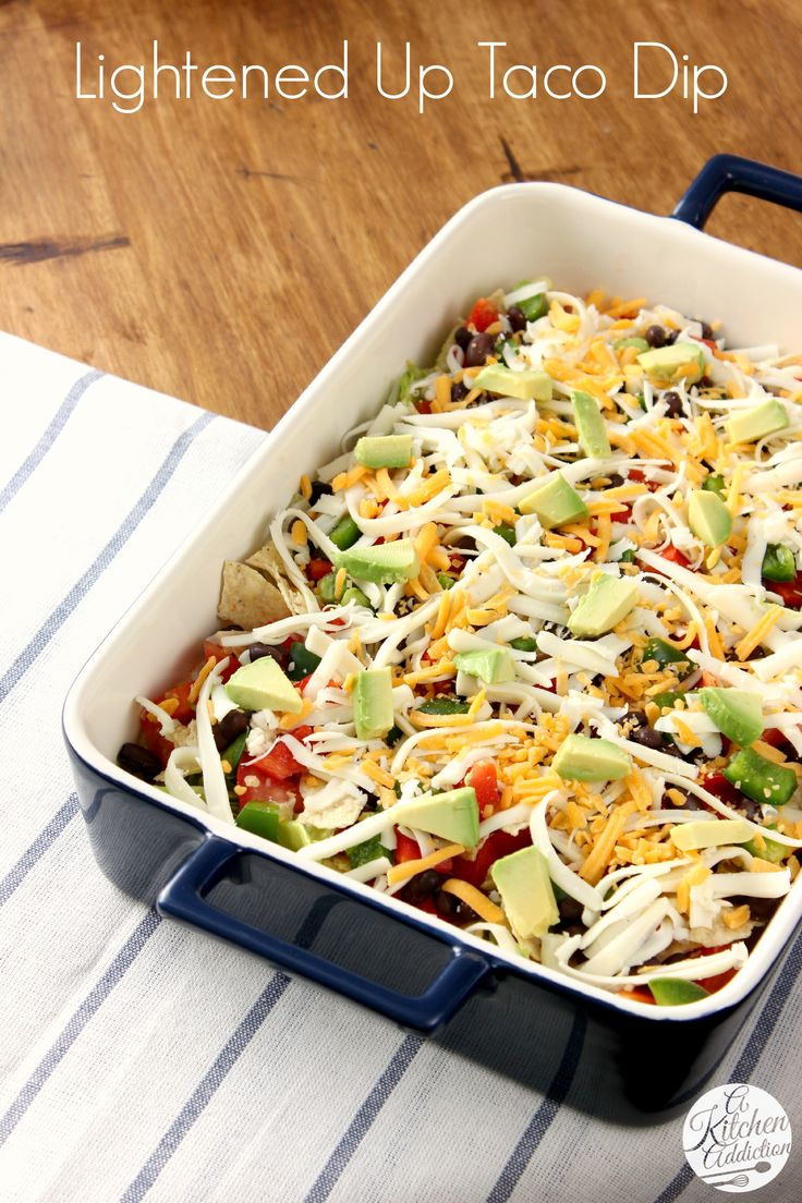 Lightened Up Taco Dip from @Jess Pearl Pearl Pearl Liu l A Kitchen Addiction #gameday #partyfood