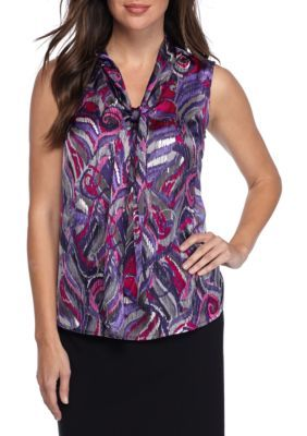 Nine West Women's Printed Neck Bow Tie Blouse - Blueberry Multi - Xl