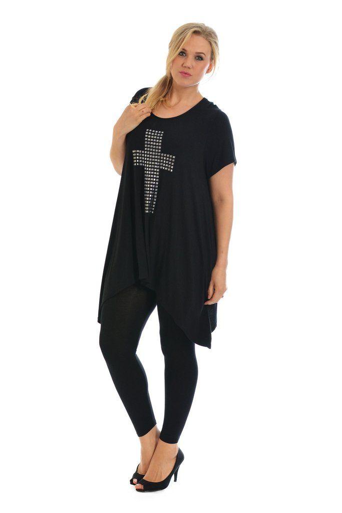 Stylish Metallic Stud Cross Tunic Plus Size Top - Black