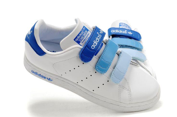 Adidas Stan Smith GS - Chaussure Adidar Pas Cher Pour Femme/Enfant Blanc/Bleu