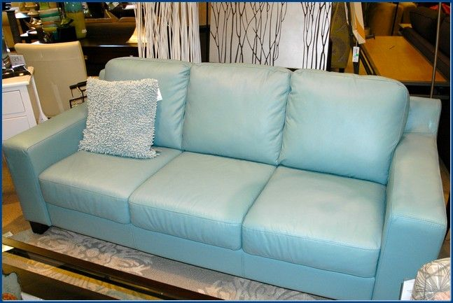 Blue Leather Sleeper Sofa With Images