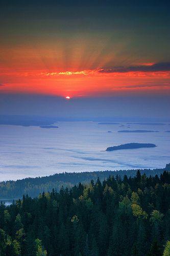 Morning rays in Ukko Koli, Finland