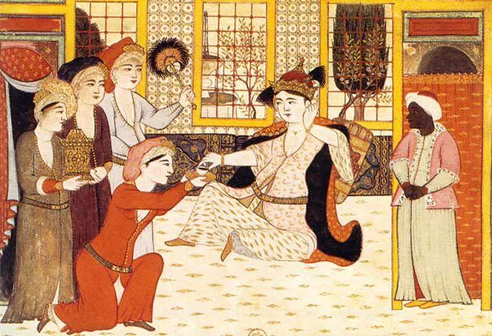Kaffee trinkende Frauen im Harem Die Sitte des Kaffeetrinkens war seit der Mitte des 16. Jh. bei den Osmanen verbreitet. Die Miniatur zeigt eine hochrangige Haremsdame im Kreis ihrer Dienerinnen, der ein Schälchen Kaffee gereicht wird.