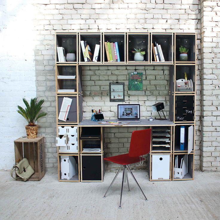 Schöneres Home Office mit dem WERKBOX-System. Die passenden Module bieten umfangreiche Ablagemöglichkeiten.