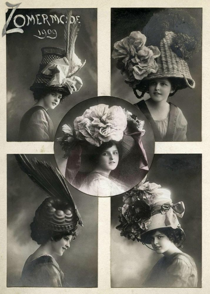 vintage hats made from household objects, possbily lampooning the size & cost of the fashionable hats of the time, 1909