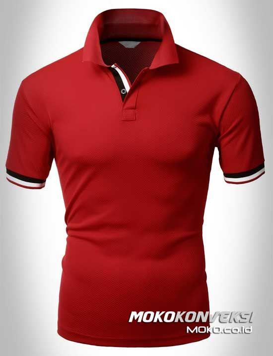 Polo Shirt Dual Stripes Accent | MOKO.CO.ID Model Kaos Polo Shirt Warna Merah.