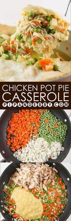 Chicken Pot Pie Casserole | Chicken pot pie in casserole form. Add this to your dinner rotation...super yummy!