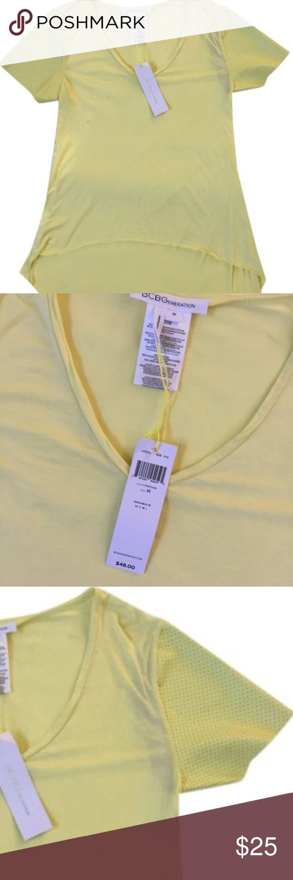 BCBGeneration shirt BCBGeneration yellow v-neck high-low shirt with detail sleeves. BCBGeneration Tops Tees - Short Sleeve