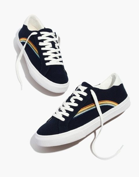62f1befc02a38c Women s Sidewalk Low-Top Sneakers in Rainbow Embroidered Canvas in deep  navy image 1