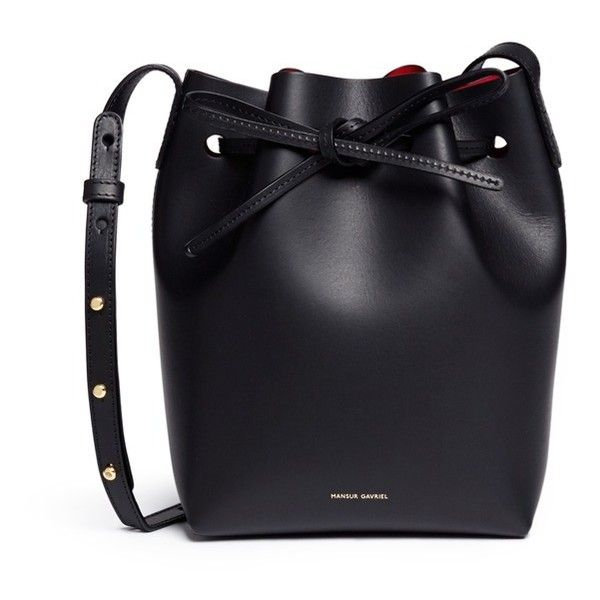 Mansur Gavriel Mini leather bucket bag ($495) ❤ liked on Polyvore featuring bags, handbags, shoulder bags, black, leather shoulder bag, genuine leather handbags, mini shoulder bag, mini leather handbags and mansur gavriel handbags